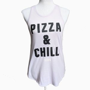 PINK VICTORIA'S SECRET   PIZZA AND CHILL TANK TOP